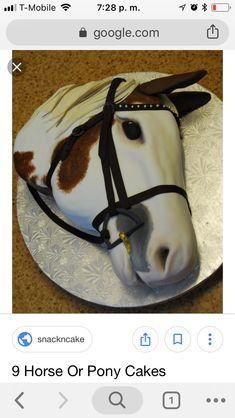 Horse Head cake by Michelle Bigold, High Tea Bakery. She handpainted the details, rather than airbrushing. Almost creepy and Godfatherish. Adult Birthday Cakes, My Birthday Cake, Fancy Cakes, Cute Cakes, Fondant Cakes, Cupcake Cakes, Fondant Figures, Western Cakes, Cowgirl Cakes