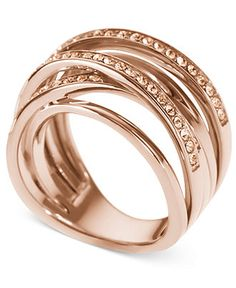 Michael Kors Ring, Rose Gold Glass Pave Stack Ring - Macy's