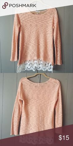 Soft pink knit top with lace trim Super soft and sweet Delias top. This will look so cute with ankle boots and skinnys this fall and winter! Delia's Tops Blouses