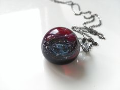 Your place to buy and sell all things handmade Tiny Necklace, Galaxy Space, Handmade Beads, Black Stainless Steel, Milky Way, Glass Jewelry, Class Ring, Universe, Pendants