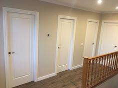 Baseboard Styles, White Interior Doors, Internal Doors, Baseboards, Closed Doors, Wood Design, Tall Cabinet Storage, Door Handles, Bedroom Decor