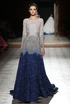 Ombré from Grey to Blue Gown with Beading - Fall Winter 2015/16 | Tony Ward