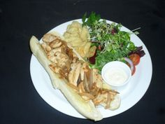 Chicken & onion baguette with Dijon mayo