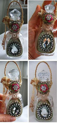 Altered Decorated Shabby Bottle Antique Glass Romantic