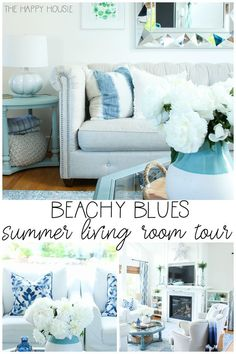 I'm super excited to be sharing my  first summer room tour of the season; our beachy blues summer living  room tour, as part of the Summer Colours Home Tour series. Come see this beautiful coastal living room look!