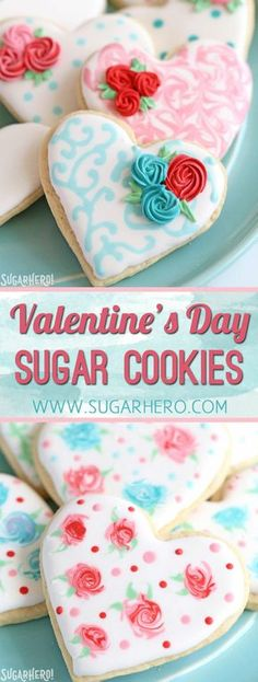 Looking for a great Valentine's Day sugar cookie recipe? These classic sugar cookies are decorated with royal icing in a variety of beautiful Valentine's Day designs. They make wonderful edible gifts! | From SugarHero.com #valentinesday #cookies #sugarcookies #royalicing #valentinesdaycookies