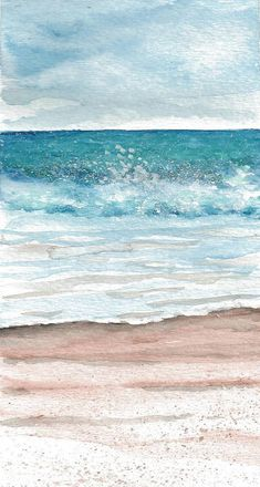This is a print of original watercolor painting, 4 x 11 including a border on all sides, printed on acid free heavyweight paper. It is not matted or framed. Watercolor Ocean, Watercolor Landscape, Watercolor Paintings, Beach Paintings, Seascape Paintings, Art Plage, Contemporary Abstract Art, Contemporary Landscape, Modern Art