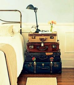 Perfect use for vintage suitcases...   http://tumblr.earth911.com/