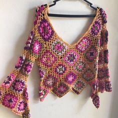 Crochet and knitting Crochet Granny, Crochet Motif, Crochet Designs, Knit Crochet, Crochet Patterns, Crochet Crafts, Crochet Projects, Hippie Crochet, Crochet Cardigan