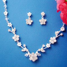 Crystal and Freshwater Pearl Jewelry Set - Bridal Jewelry Set