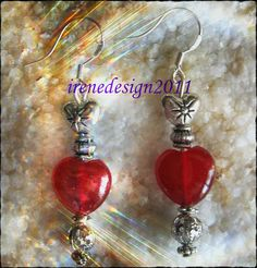 Beautiful Handmade Silver Hook Earrings with Red Ruby Heart & Silver Heart by IreneDesign2011 in my Etsy shop What do you think about these earrings? Please let me know, thanks :-D Irene