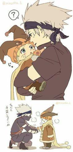 Aww ♥ Kakashi and baby Naruto ♥♥♥ 6th and 7th Hokage ♥