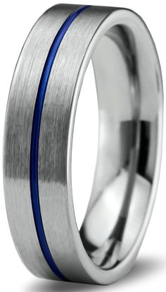 Tungsten Wedding Band Ring 6mm for Men Women Blue Grey Flat Pipe Cut Brushed Polished Size 4.5
