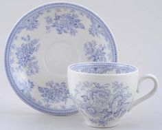 Burleigh Asiatic Pheasants Teacup and Saucer White Tea Cups, Blue Cups, Blue Chinaware, White Dishes, Blue And White China, Pheasant, Vintage China, China Porcelain, Fine China