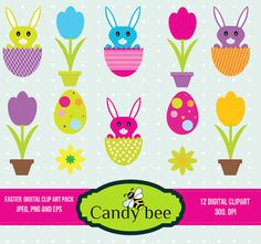 Easter Clipart , Bunny Clip Art, Easter Egg Clip art, Happy Easter Clipart, Tulip  Flower for invitation Card Design, Scrapbooking 219