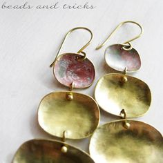 Brass and red patina earrings | Handmade by Beads and Tricks