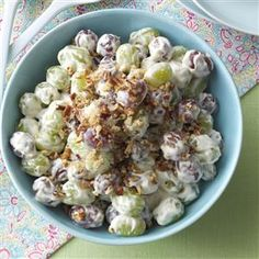 Creamy Grape Salad Recipe -Everyone raves when I bring this refreshing, creamy salad to potlucks. For a special finishing touch, sprinkle it with brown…