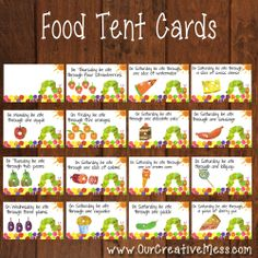 Hungry Caterpillar Food Tent Cards from Our Creative Mess Twin First Birthday, Farm Birthday, 1st Boy Birthday, 1st Birthday Parties, Birthday Banners, Birthday Invitations, Birthday Ideas, Hungry Caterpillar Activities, Hungry Caterpillar Party