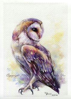 PRINT – The Owl Watercolor painting x The artwork print reproduction of my Original Watercolor painting. Printed area: x 11 Paper Owl Watercolor, Watercolor Animals, Watercolor Paintings, Owl Paintings, Owl Artwork, Artwork Prints, Art Et Illustration, Bird Art, Oeuvre D'art