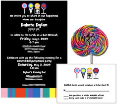 Candy theme invitations