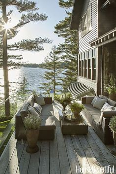 Mom's Turf: Lake Cottage with Rustic Elegance  #porch #house #lakehouse