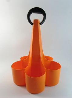 Mid Century Modernist Luigi Colani Sulo Wine Holder Caddy Orange Plastic
