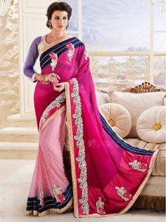 Pink Net Saree With Cutdana Work