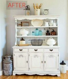 Farmhouse Hutch Makeover with Country Chic Paint Painted Furniture, Diy Furniture, Hutch Furniture, Painted Hutch, Painted Drawers, Country Furniture, Recycled Furniture, Furniture Makeover, Bedroom Furniture