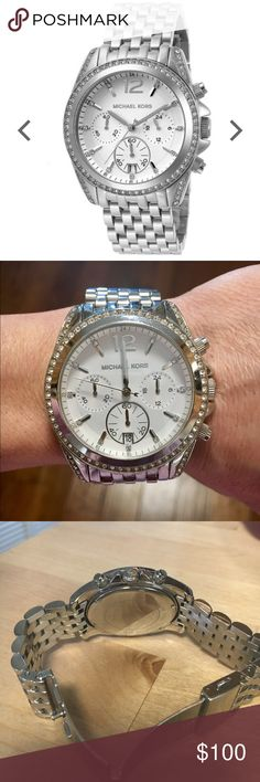Michael Kors watch Michael Kors Pressley Silver Womens' Steel Wrist watch, stone detail, white face. W/0 box  excellent condition, hardly wore. Needs new battery. But works perfectly. Michael Kors Accessories Watches