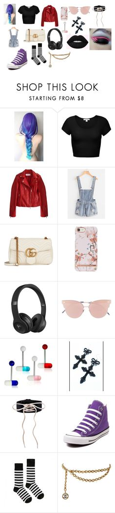 """C.N- Love Affair: Meadow's outfit"" by moonsxwolf ❤ liked on Polyvore featuring Gucci, Beats by Dr. Dre, So.Ya, Puma, Lime Crime, Converse, Dr. Martens and Chanel"