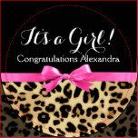 """It's a Girl! Wild Animal Safari Leopard Print with vibrant bright hot neon pink Bow and ribbon printed on. Girl Baby Shower favor is great for the feminine female girly girl with a flair for fashion and modern style.<br><font size=""""5"""" color=""""dd4900"""">★★View More <a href=""""http://www.zazzle.com/custominvites/pink+leopard"""">Pink Leopard</a>Items ★★</font>"""