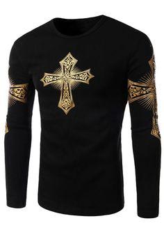 Men's fashion:Color Block Special Cross Print Slimming Long Sleeves Men's Flocky T-Shirt