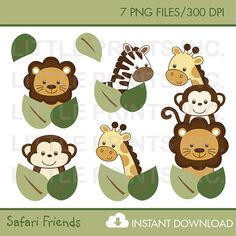 Safari Friends Jungle Animal Clip Art by LittlePrintsParties, $5.00