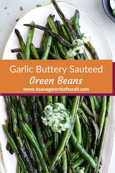 A spin on your classic green bean side dish using a homemade garlic and herb butter topping. Easy Vegetable Side Dishes, Healthy Side Dishes, Side Dishes Easy, Side Dish Recipes, Roasted Vegetable Recipes, Garlic Recipes, Veggie Recipes, Potluck Side Dishes, Easy Mashed Potatoes