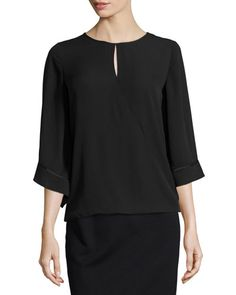 Neiman Marcus Faux-Wrap Keyhole Blouse, Black New offer @@@ Price :$99 Price Sale $69