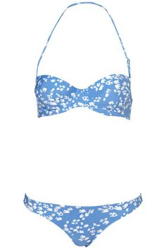 Blue Bird Print Push Up Bikini