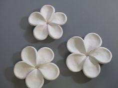 5 Plummeria Bloom muur sculpturen Set van drie  Elke bloem is hand kneep uit witte klei, bekleed met witte underglaze en oven gestookt. Afwerking met de hoogste kwaliteit matte lak geeft de uitstraling van briljant wit baai zand of gebleekt koraal te de bloemen. Bloemblaadjes sprong recht off van de muur.  Specificaties: drie bloeien set grootte-bloemen zijn ongeveer 5 doorsnede door 1 1/4 dikke kleur-mat wit Oven ontslagen aardewerk klei, witte underglaze en matte vernis gaten in de rug…