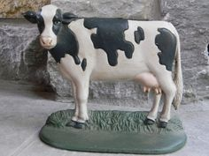 Vintage Cast Iron Door Stop Cow Farmhouse Chic by Pickerchicks