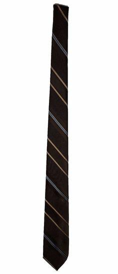 The Mens Shop JC Penny Brown Tan Blue Stripe Polyester Neck Necktie Tie 54in #JPPenny #Tie