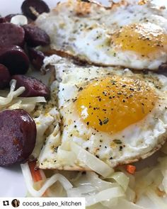 Fried eggs  our organic Adobo Seasoning = best friends 4ever. # Repost @cocos_paleo_kitchen Let's put an egg on it and call it breakfast (not that breakfasts always have to have eggs!) Sliced up one of the @buyranchdirect sausage I used last night ...and using the same cabbage slaw but no mayo/buffalo combo this time - it was a quick sauté in @tinstarfoods ghee and garlic! Then plopped two eggs cooked in the ghee & sprinkled adobo spice from @primalpalate all over them! It was gooooood…