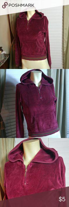 Velour burgundy hoodie Nice in good condition Rampage Tops Sweatshirts & Hoodies
