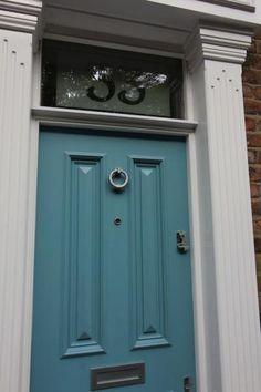 Farrow and ball stone blue front door Front Door Farrow And Ball, Farrow And Ball Paint, House Front Door, Favorite Paint Colors, External Doors, Painted Front Doors, Shutter Doors, Front Door Colors, Grey Furniture