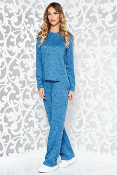 StarShinerS blue casual lady set knitted fabric with easy cut with pockets October 19, Product Label, Knitted Fabric, Soft Fabrics, Knitwear, Vibrant, Pockets, Lady, Tricot