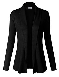 BIADANI Women Classic Soft Long Sleeve Ribbed Collar Open Front Cardigan Sweater Black, Large