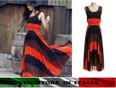 Maxi-abito-boho-vestito-STRISCE-lungo-dress-stampato-righe-arancione-hippy-bloge