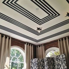 Eric Cohler's Room at Adamsleigh Showhouse 2013 | featuring Visual Comforts Star Flush Mount and a fabulous geometric design on ceiling.