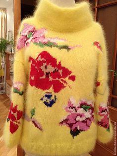 """Купить кофта из ангоры """"Розы"""" - цветочный, ангора, ангорка, вязаная кофта, модная модель"""