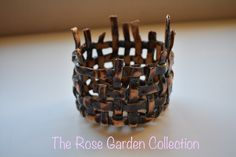 Hand woven around the outside of a mould. Open gaps and uneven top perfect candle holder Hand Weaving, Candle Holders, Candles, Rose, Garden, Hand Knitting, Pink, Garten, Porta Velas