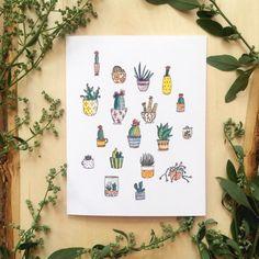 Carte 'cactus' par Yelleillustrations sur Etsy