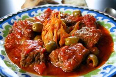 garlic beef with green olives